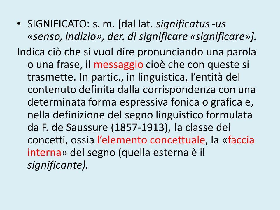 SIGNIFICATO: s. m. [dal lat. significatus -us «senso, indizio», der